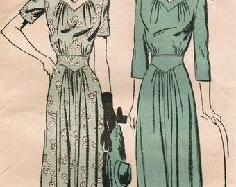 Vintage 1942 Advance 3040 Sewing Pattern Misses' Dress Size 16 Bust 34