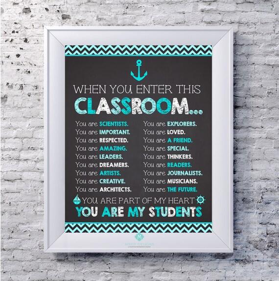 Teacher Poster - Nautical Teacher Classroom Poster - Teacher Printable Art - Wall Decor  -8x10  - Teacher Gift -Instant Digital Download