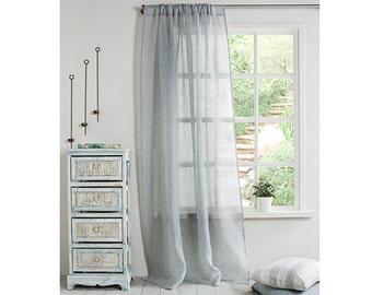 Linen Curtain-Curtain Grey Blue Curtain-Linen Sheer Panel- Drapes-Window Treatment- Rod pocket- 4''(10cm)-Width 67'' (170cm) x Custom length