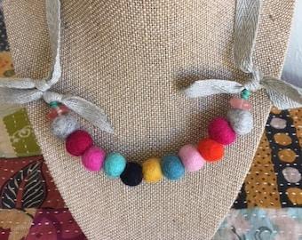 Felted Wool Ball Necklace*Rainbow*Girls Birthday Gift
