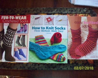 Crocheted and Knitted Socks -- Book, Booklets, and Patterns -- Sold Separately