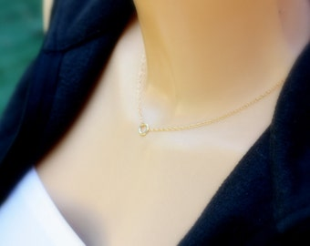 Tiny Circle - Tiny Gold necklace,  Everyday Necklace, Layering necklace, gold fill, tiny necklace, tiny charm, Dainty, Tiny Gold Necklace