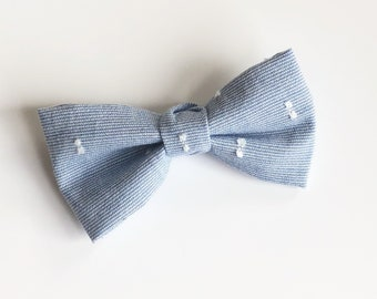 Swiss Dot Chambray Bow Tie. Adjustable Bow Tie, Boys Bow Tie, Toddler Bow Tie, Baby Bow Tie