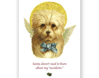 There's No Need To Tell Santa Puppy - Christmas Card