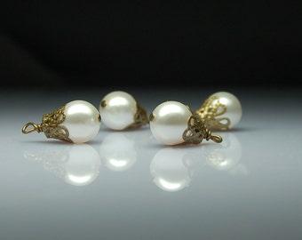 Vintage Style Bead Dangles Cream Swarovski Crystal Pearls Set of Four