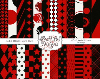 Sports Team Colors Digital Paper Pack Red and Black Commercial Use
