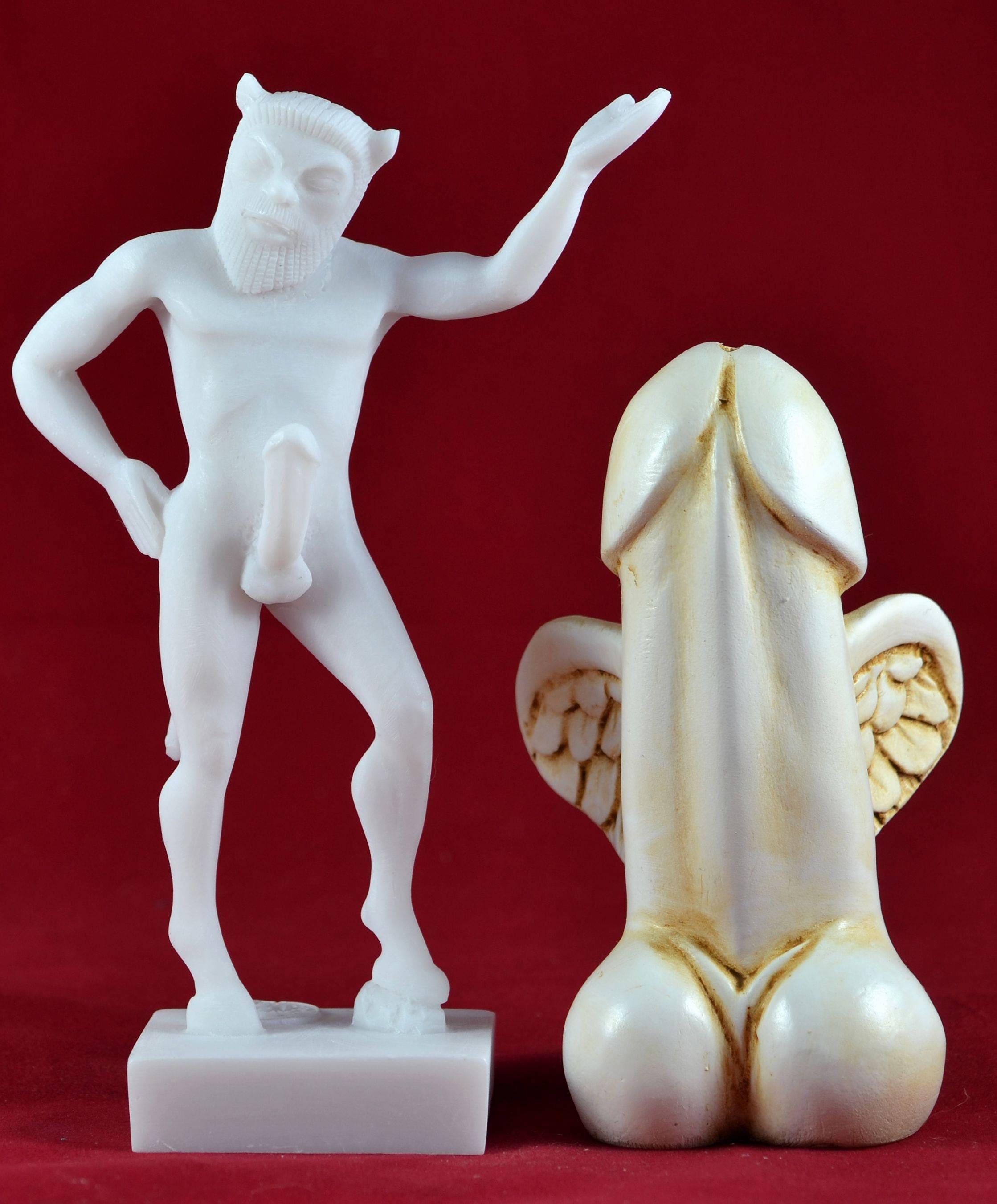 Pan satyr greek god of the wild phallc symbol statue zoom buycottarizona