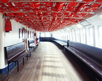 Ferry Photography - Boat Nautical, Centre Island Ferry, Deck, Cabin, Seats, Lifejackets, Ship, Modern, Beautiful, Contemporary