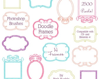 Doodle Frames Photoshop Brushes, Doodle Borders Photoshop Brushes - Commercial and Personal Use