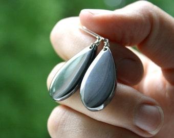Hematite Jewelry . Healing Stone for Anxiety . Grey Gemstone Earrings . Silver Teardrop Earrings Leverback