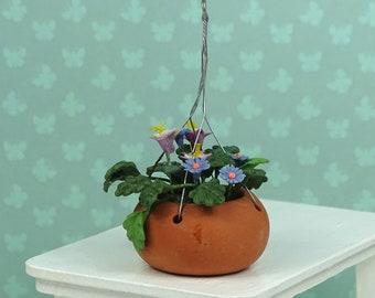 Dollhouse vintage hanging flower pot 1970s terracotta