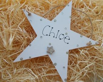 Girls Sparkly Bedroom Wooden Star Door Plaque Keepsake Gift