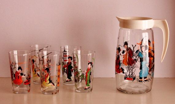 Set of 5 Glasses with Jar, Japanese Pattern Glasses, Vintage Jar and Glasses Set