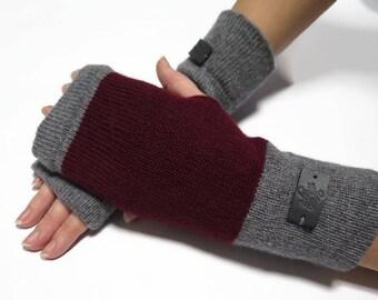 Cashmere Wrist Warmers, merino wool gloves, fingerless cashmere gloves, arm warmers bourdeaux, wool gloves, armstulpen wolle, gift for women