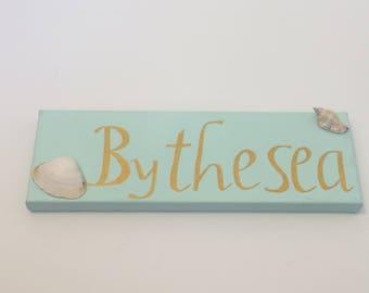 "Phrase Panel ""By The Sea""- mint green, nautical, nautical decor, shabby chic, shabby chic decor, beach house decor, shells, seashells,"
