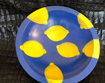 "7"" hand-painted food-safe wood bowl ""Lemons"""