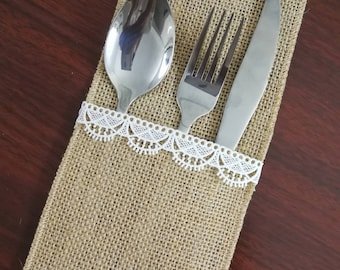 Set of 10-Wedding Table Set,Table Setting,Burlap Silverware Holder,Wedding Rustic Menu,Burlap table decoration,Rustic table decor, - (PY)18