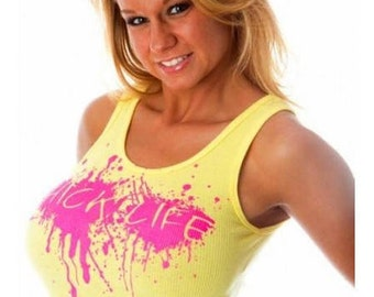 Hot Pink Hick Life Mud Splat Ribbed Tank