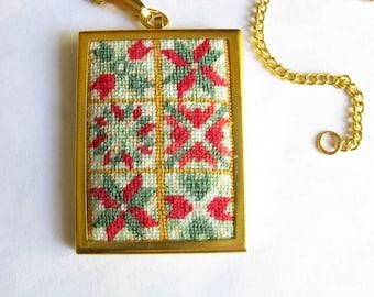 Christmas Quilt Squares Cross Stitch Pendant. Christmas Pendant Necklace. Cross Stitch Pendant. Needlepoint Necklace. Christmas Quilt. 039
