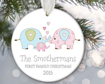 First Family Christmas with baby girl or baby boy, Personalized Christmas Ornament of Elephant Family Gift Elephant Ornament OR670
