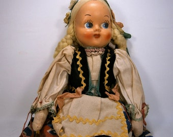 Vintage Cloth Doll, Hand Painted Plastic Face, Made in Poland, Ethnic Doll, Collectible Doll