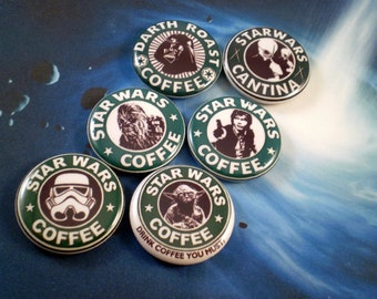 "Star Wars Magnets, Star Wars Pins, Star Wars Coffee, 1"" Magnets, Pins,  Flatbacks, Star Wars Coffee"