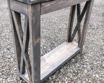 ENTRY TABLE - Farmhouse X-Style - Rustic Console Table - Custom Made Table - Farmhouse Table