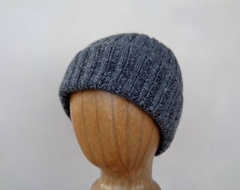 Charcoal Gray Hat, Pure Cashmere, Hand Knit, Beanie Hat for Men or Women, Watch Cap, Natural Luxury