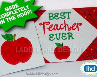 ITH Mug Rug Embroidery Design -- Best Teacher Ever Mug Rug - ITH Teacher Mug Rug --  Mug Rug Embroidery Design MR022