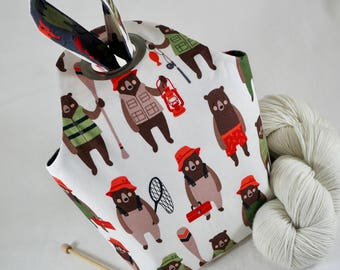 SMALL Fishing Bears Project Bag, Knitting Project Bag, Crochet Project Bag, Reversible, pocket, Saxi Bags, Saxi Bag, Project Bag, Yarn Bag