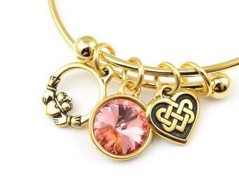 Celtic Bracelet Gold Bracelet Personalized Birthstone Custom Expandable Adjustable Claddagh Heart Bangle Gift for Her Mom Under 25 30