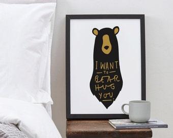 "8x10"" Bear Hug Print - bear print - nursery print - romantic print - bear hug poster"