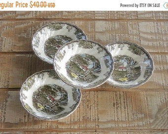 ON SALE Johnson Brothers The Friendly Village Dessert Bowls Set of 4, Vintage Berry Bowls Small Bowls Replacement China