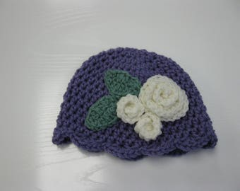 Baby Crochet Hat Purple and White Rose Hat