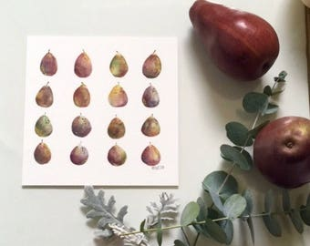 Medium Pears and Plums Original Watercolor Painting with Gold foil