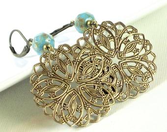 Brass Filigree Earrings - Large Earrings, Medallion