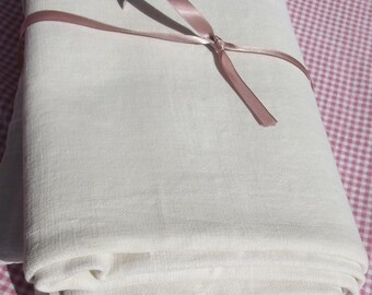 Bolt Antique French Fabric pure hand loomed chanvre Organic hemp linen  weave loom width