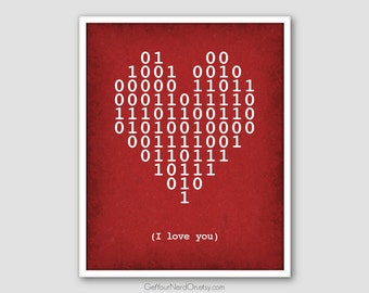 Binary Code Heart, I Love You Poster, Computer Geek Gift, Binary I Love