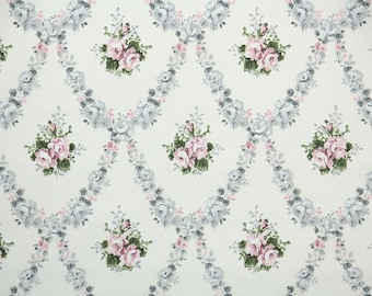 1930s Vintage Wallpaper by the Yard - Pink and Gray Rose Damask on White
