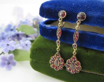 Bohemian Garnet Earrings - Estate Jewelry, January Birthstone Vintage Earrings for Women