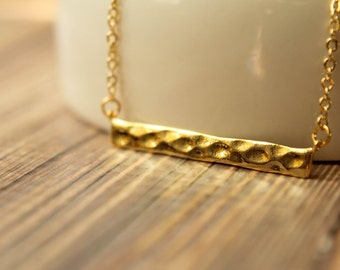 Hammered Bar Necklace, Available in Silver and Gold
