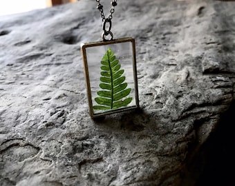 Fern Necklace / Botanical Necklace / Plant Locket / Fern Leaf / Glass Locket / Square Locket / Fern / Boho Jewelry / Necklace/ Wanderlust