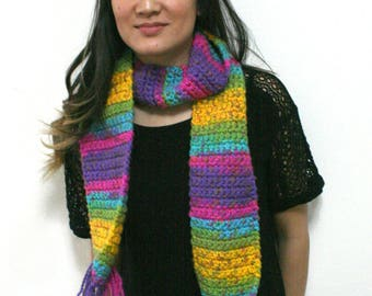 Chunky, Bright, Multi Colored Crocheted Scarf