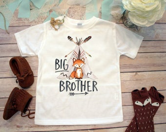 Big Brother Shirt, Brother Fox Shirt, Hipster Baby Clothes, Boho Baby Clothes, Big Brother Little Brother, Toddler Fox Shirt, Teepee, Family
