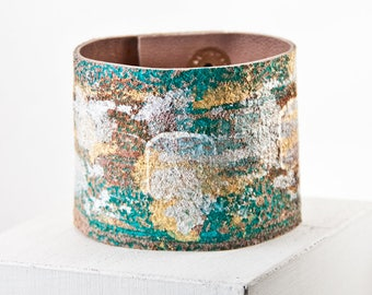 Women's Leather Jewelry Cuff Turquoise Gold Siver Size Large Snap Bracelet