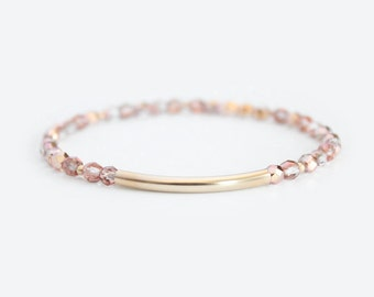 Champagne Beaded Bar Bracelet - Gold Filled or Sterling Silver - Nuelle