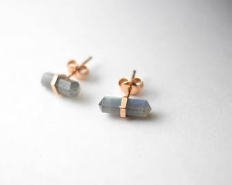 Labradorite Rose Gold Studs | Rose Gold Earrings | Boho Earrings | Bohemian Studs | Gift For Girlfriend | Stud Earrings | Gift For Her