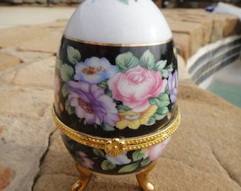 "Limoges 3 footed Egg Trinket Box 4"" Tall and Hinged,Hinged Egg, trinket box egg. ring holder, porcelain egg, collectible egg, Vintage"