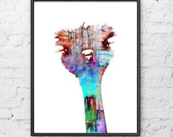 Ostrich print, animal print, painting, watercolour, fine art, kids animal, nursery animal, children art, colrful wall decor, poster - H86