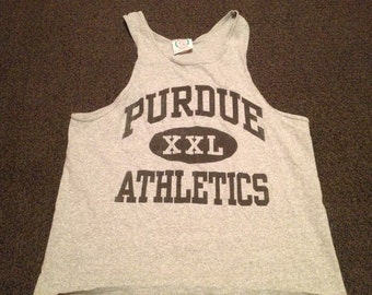 Vintage Gray Purdue Boilermakers Bro Tank Top Shirt Size XL
